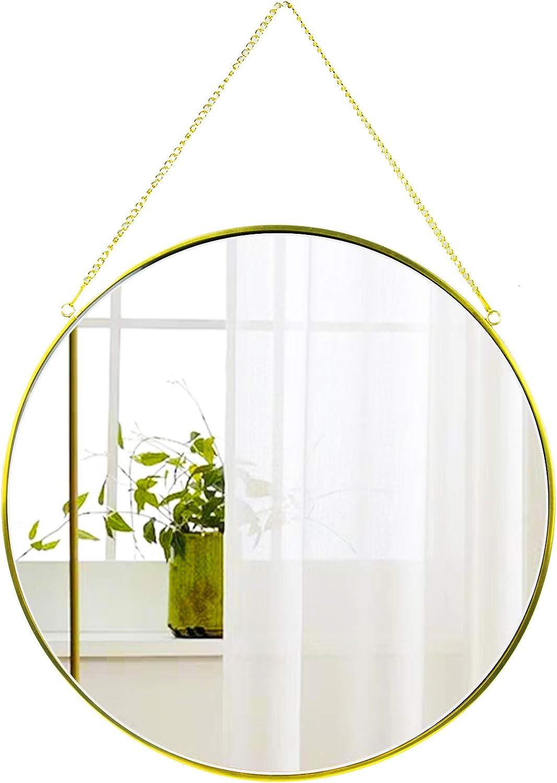 CoolXuan Round Hanging Mirror Gold 13.78