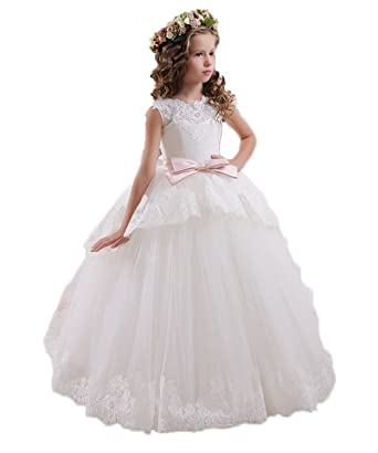 MicBridal® Princess Applique Sash Bow V-neck Banquet Flower Girl Dress White Age10