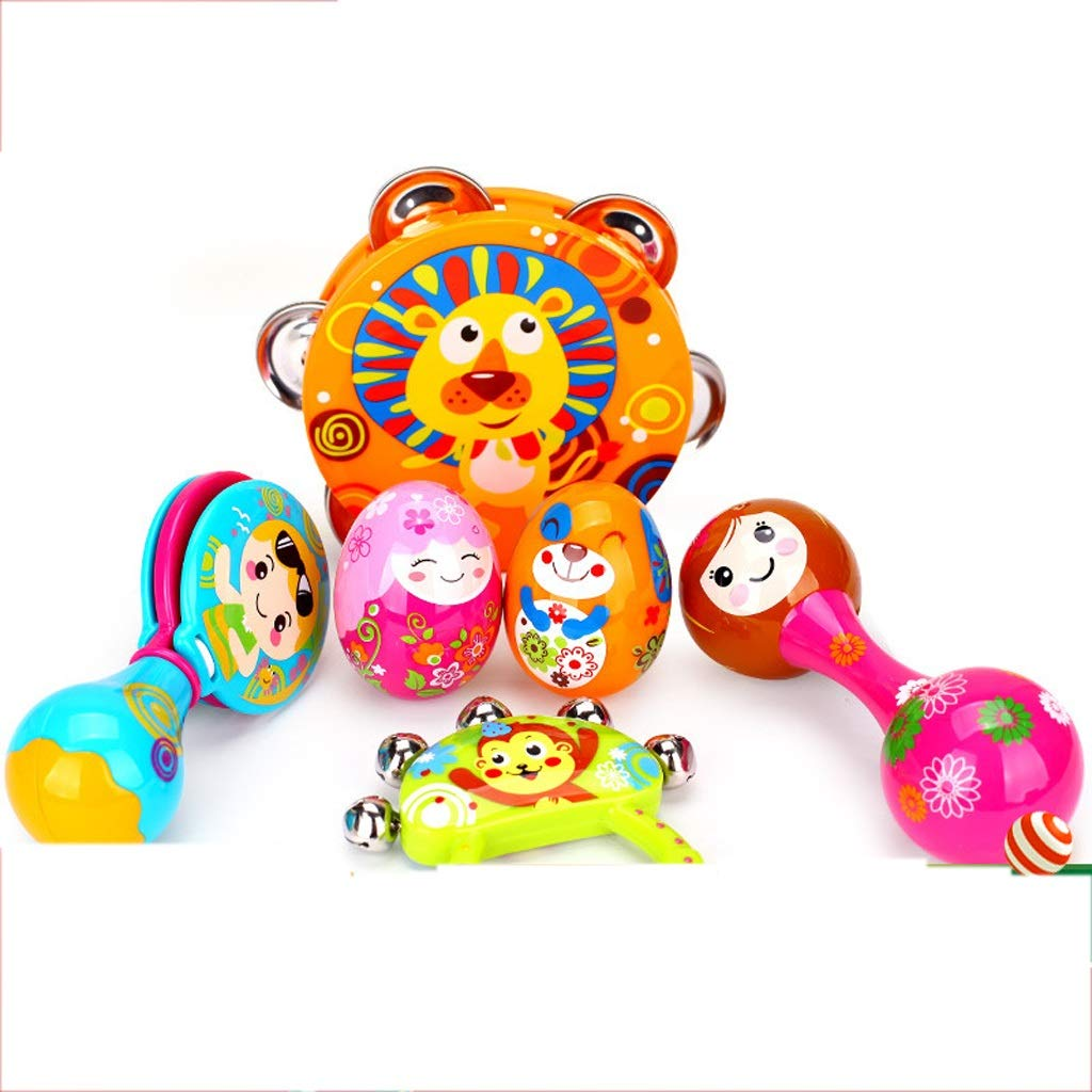 LIPENG-TOY Children's Educational Tambourine Infant Hand Drums Percussion Instrument 3-6-12 Months Set (Color : Multi-Colored)