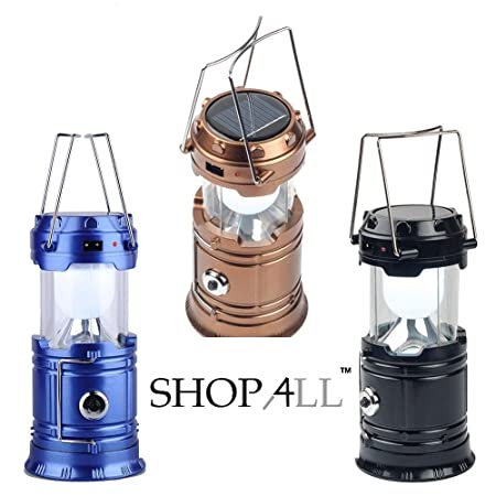 SHOP4ALLTM USB Mobile Charging LED Solar Emergency Light Lantern with Torch Point, 2 Power SourceSolar and Lithium Battery (Assorted)