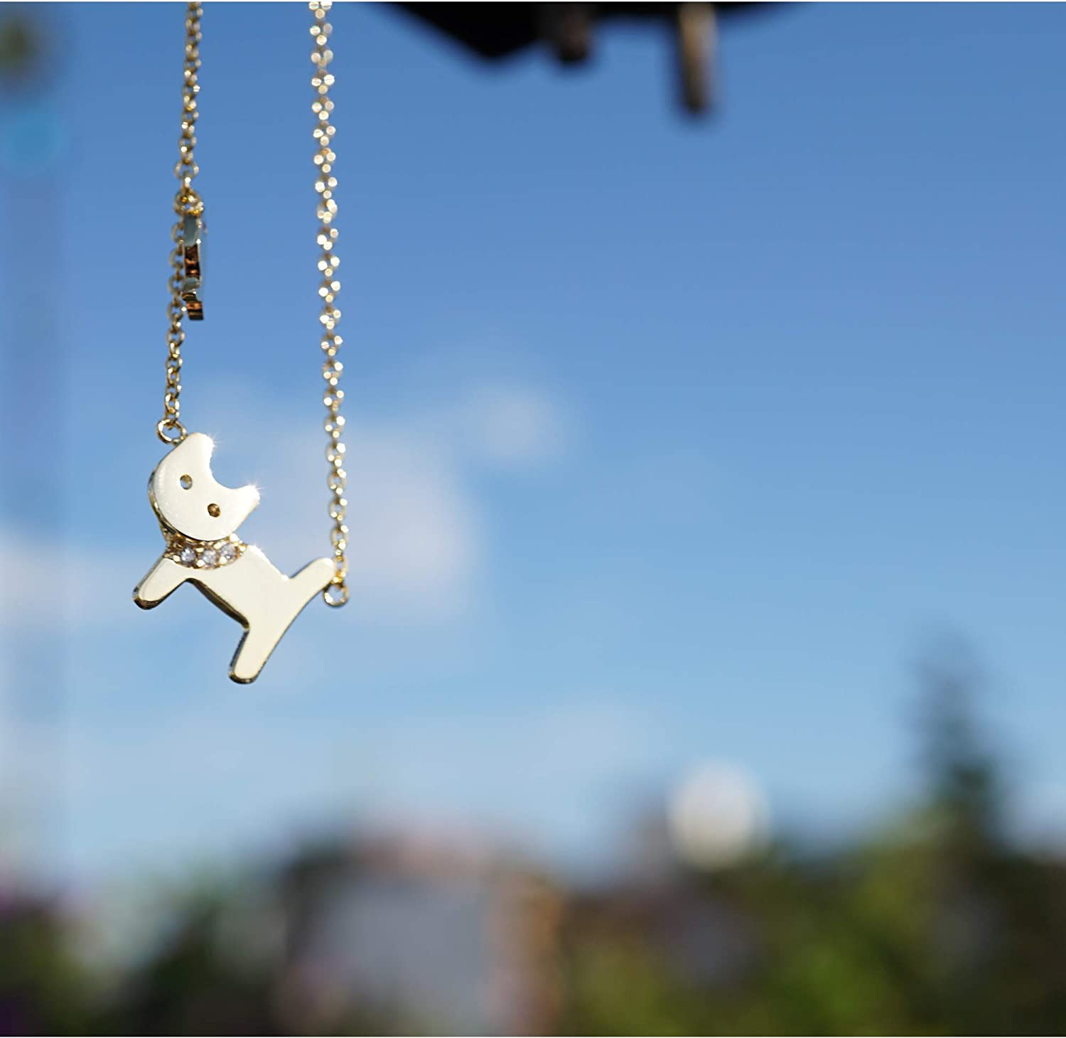 Pratique Style Cat with Cubics and Mini Fish Cute Sweet Dainty Pendant Chain Necklaces for Women Girls Catlovers