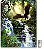 "Glow Decor – 18"" x 24"" – Nature Scenes – LED Backlit Prints with Remote – All Batteries Included. (Eagle's Flight with Scripture)"