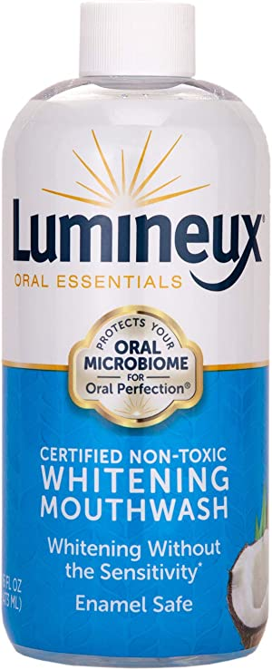 Lumineux Oral Essentials Teeth Whitening Mouthwash - Certified Non Toxic | Whiter Teeth in 7 Days or Less w/o Sensitivity | Fluoride Free | NO Alcohol, Artificial Colors, SLS Free, Dentist Formulated