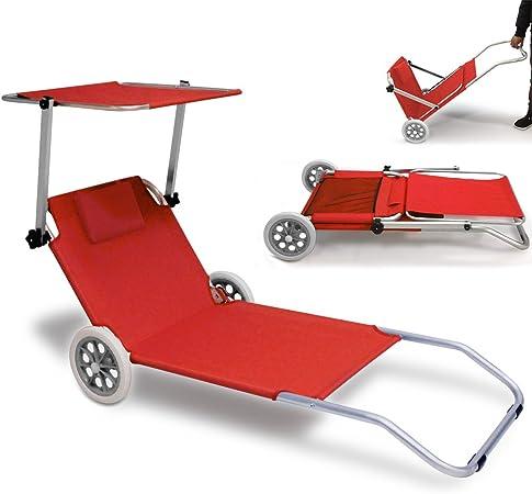 Chaise Longue De Plage Transat Pare Soleil Pliable 2 Roues Robuste Rouge Jardin Camping Terrasse Amazon Fr Jardin