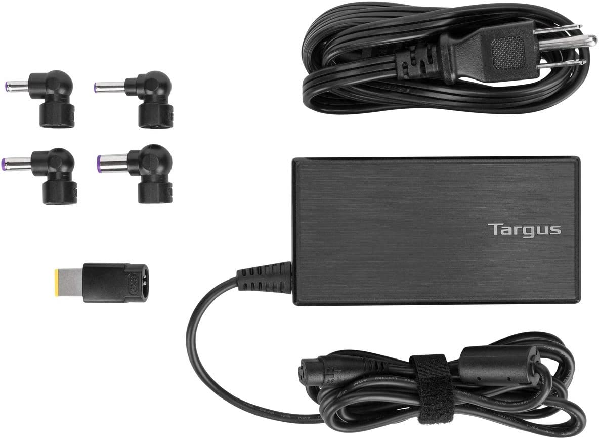 Targus 90W AC Semi-Slim Universal Laptop Charger with 6-Foot Cable, Includes 5 Power Tips Compatible with Major Brands: Acer, ASUS, HP, Compaq, Dell, Toshiba, Gateway, IBM, Lenovo, Fujitsu (APA90US)