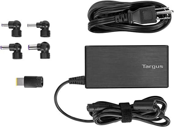 Targus 90W AC Semi-Slim Universal Laptop Charger with 6-Foot Cable, Includes 5 Power Tips Compatible with Major Brands: Acer, ASUS, HP, Compaq, Dell, ...