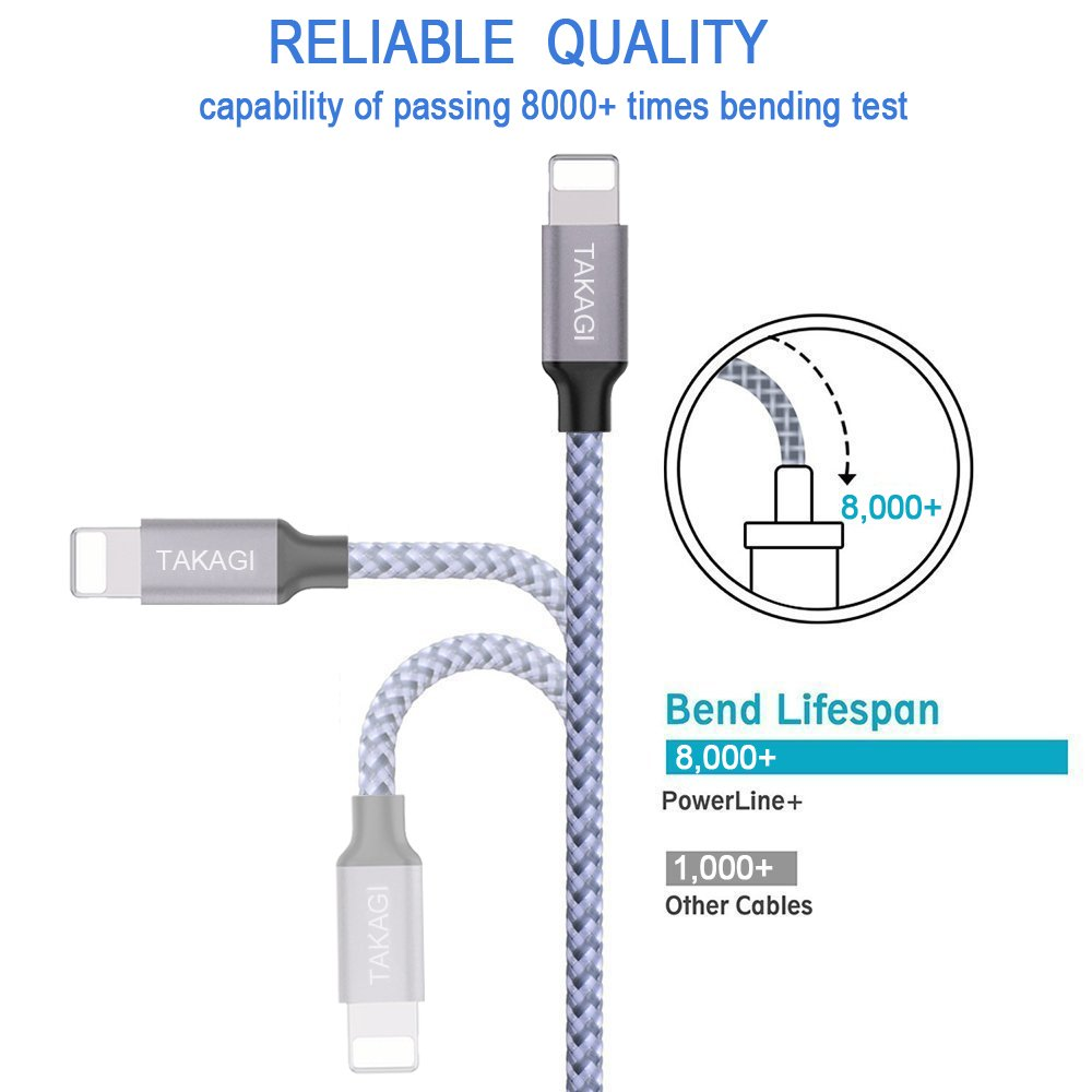 Best Budget Friendly: TAKAGI Lightning Cable Nylon Braided with Fast Charging 3 of 6FT
