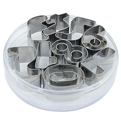 9 piezas número cortadores para galletas de acero inoxidable molde para molde de horno para DIY