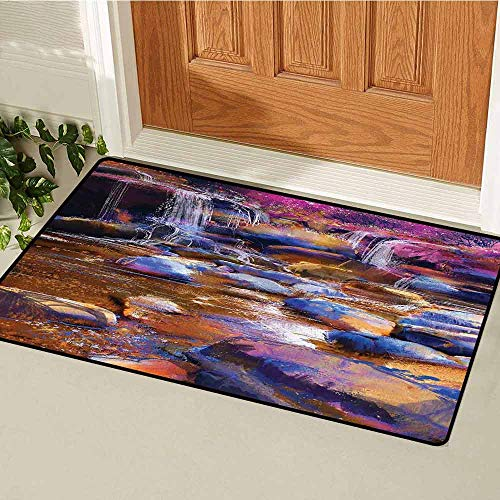 Gloria Johnson Waterfall Universal Door mat Painting of Fairy River Amongst Colorful Rocks Myst Artistic Universe Door mat Floor Decoration W23.6 x L35.4 Inch Chocolate Pink Teal