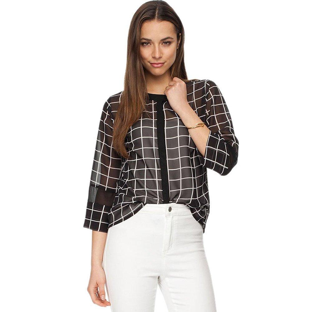 Mlotus Womens Sexy See Through Black And White Grid Chiffon Shirt