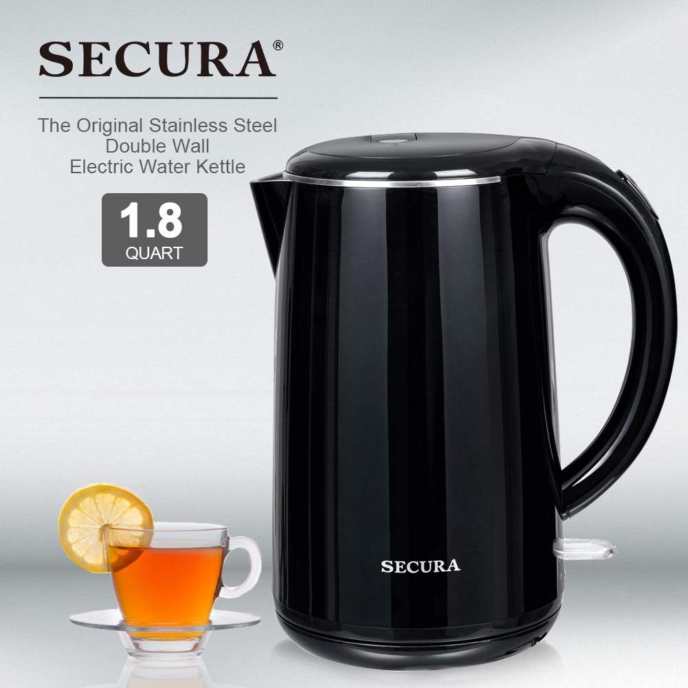 Secura SWK-1701DB Stainless Steel Double Wall Electric Water Kettle Black 1.8 Quart