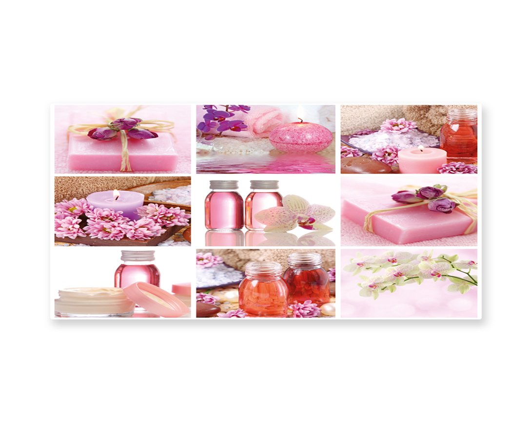 Lunarable Spa Wall Art, Flowers Pink Gift Wraps Tiny Scent Bottles and Candles Image Collage Print, Gloss Aluminium Modern Metal Artwork for Wall Decor, 23.5 W X 11.6 L Inches, Lillium Pink and White