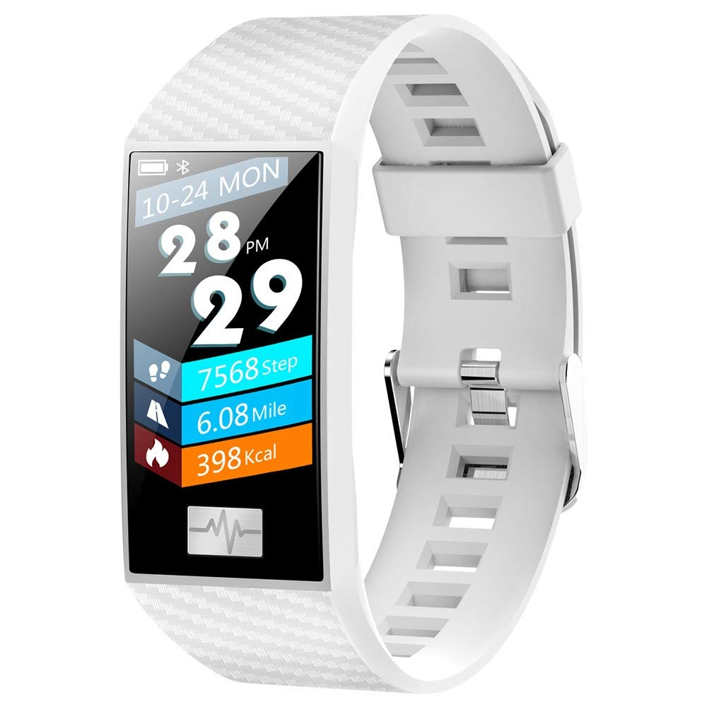 Smart Watch, Compatible with Android and iOS Platforms, IP68 Waterproof Bluetooth Watch, Heart Rate Detection, Sports Fitness Pedometer (Color : White)