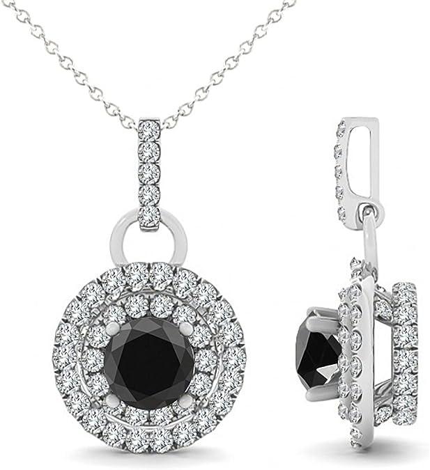 "1.00 Carat Black Round Diamond Double Halo Pendant Necklace With 18"" Chain 14K White Gold"