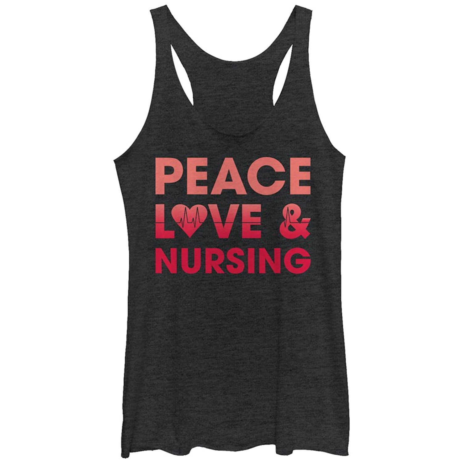 CHIN UP Peace Love and Nursing Womens Graphic Racerback Tank