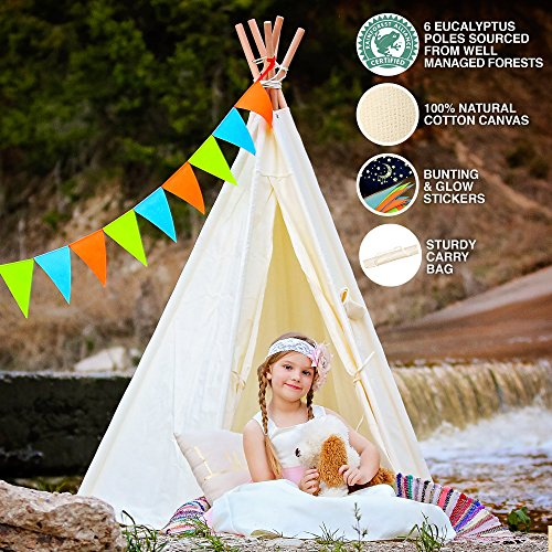 Play Teepee (Teepee Children Playhouse - 6 Pole - 100% Natural Cotton Canvas - Carry Bag - Bunting & Glow Stickers - Unique Children Play Tent For Kids - Six-Sided Walls with)