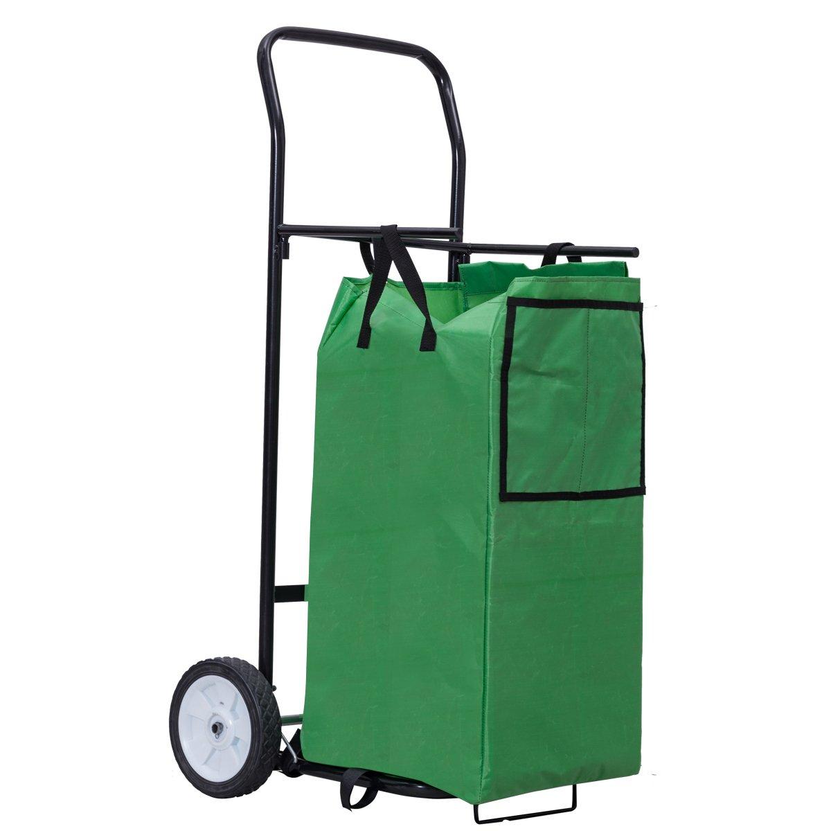 Goplus Portable Gardening Lawn Leaf Bag Detachable Tote Cart Multifunctional Folding Basket w/ Pocket Green
