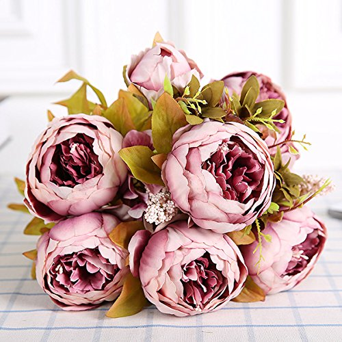 Bringsine Vintage Artificial Peony Silk Flowers Bridal Bouquet Home Wedding Decoration Flowers Bunch Hotel Party Garden Floral Decor (Bouquet Peony Flower)