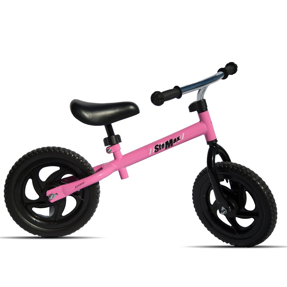 "Stemax Original 12""ultra-lite balance bike no pedal with Adjustable Handlebar and Seat. Perfect for toddlers and children age 2-6 and up to 55 lbs. Develops balancing, steering and breaking skills. 12"" Balance Bike Perfect for Children 66lbs Capacity (Pink"