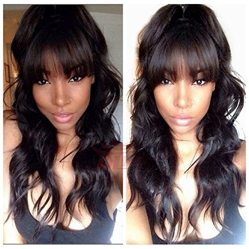 Glueless #1b Hair Color Brazilian Hair Natural Wave Lace Front Human Hair Wig with Bangs for Black Women (16inch lace front wig, natural black hair color) (Brazilian Hair Lace Wig)