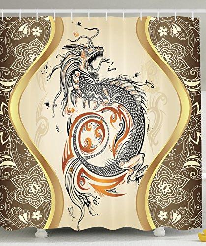 Asian Decor Dragon Doodle Sketch Tattoo Icon Flames Tribal Grunge Illustration Art Bath Accessories Design Decoration Lover Wonder Wildlife Animal Shower Curtain Washable Gold Khaki Orange Beige Black