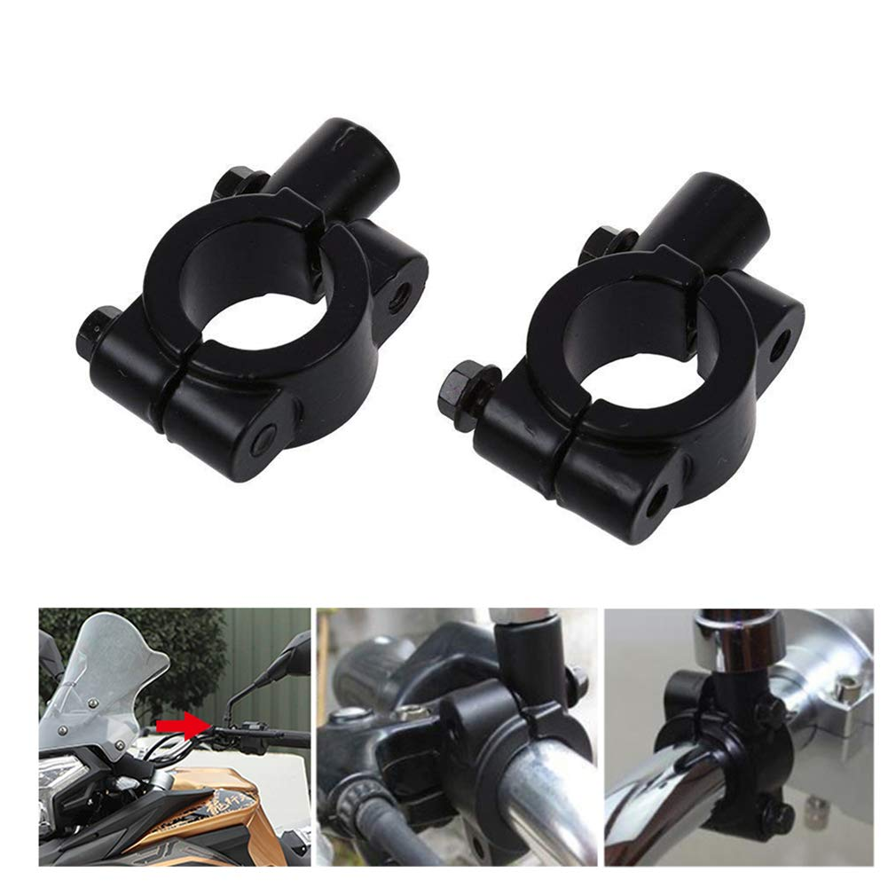 2xToruiwa Motorbike Handlebar Mirror Mount Bracket Adapter Holder Clamp Motorcycle Accessories Black