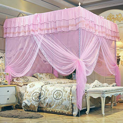 JQWUPUP Bed Curtains Canopy, Ruffle Princess 4 Corner Post Mosquito Net, Bed Canopy for Girls Kids Toddlers Crib, Bedroom Décor (Twin, Pink)
