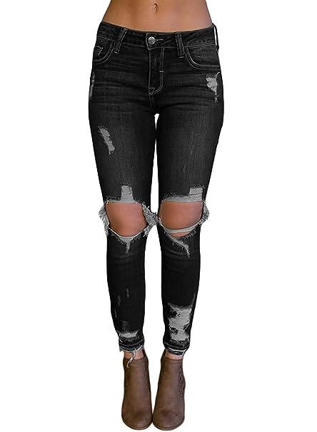 Amazon.com: Pantalones vaqueros para mujer vintage, de alta ...