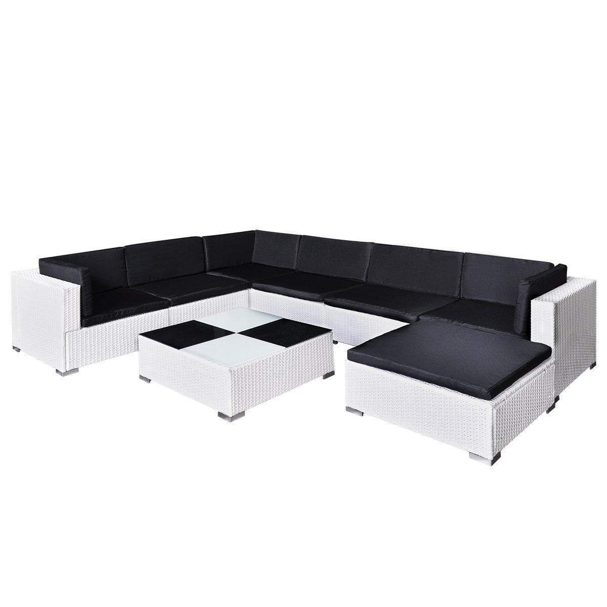 vidaXL Gartenmöbel Poly Rattan Set Lounge Weiß 24-teilig