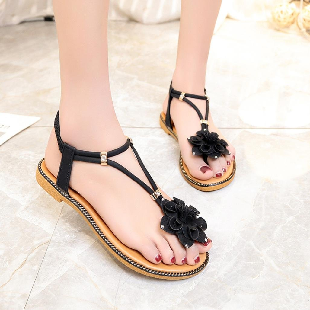 a069f2290d9911 Halijack Women s Summer Sandals Bohemia Folk Flower Flat Heel Clip Toe  Sandals Boho Beach Flip Flops Flat Elastic T-Strap Outdoor Casual Sandals  Slipper for ...