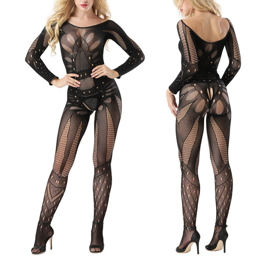 98f744c00 Womens Sexy Lingerie for Sex Full Body Fishnet Sheer Crotchless Body  Stockings Open Crotch Stretchy Tights Mesh Bodysuits Babydoll Catsuit  Leotard Teddy ...
