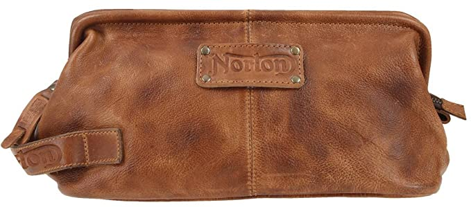 d7d38321b812 Amazon.com: Tan Leather Wash Bag by Norton: Clothing