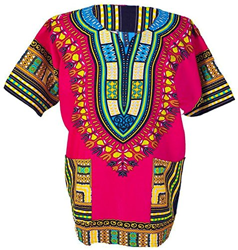 Traditional African Dashiki Cotton Shirt – Tribal Hippie Style- Variety Colors Perfect for Festival- Craft Clothes -Mens, Womens, Unisex (X-Large, Pink)