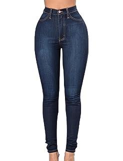 d2ce925dde71d Junshan Pantalon Jean Femme Jean Pants Crayon Legging Mince Casual Slim  Taille Haute