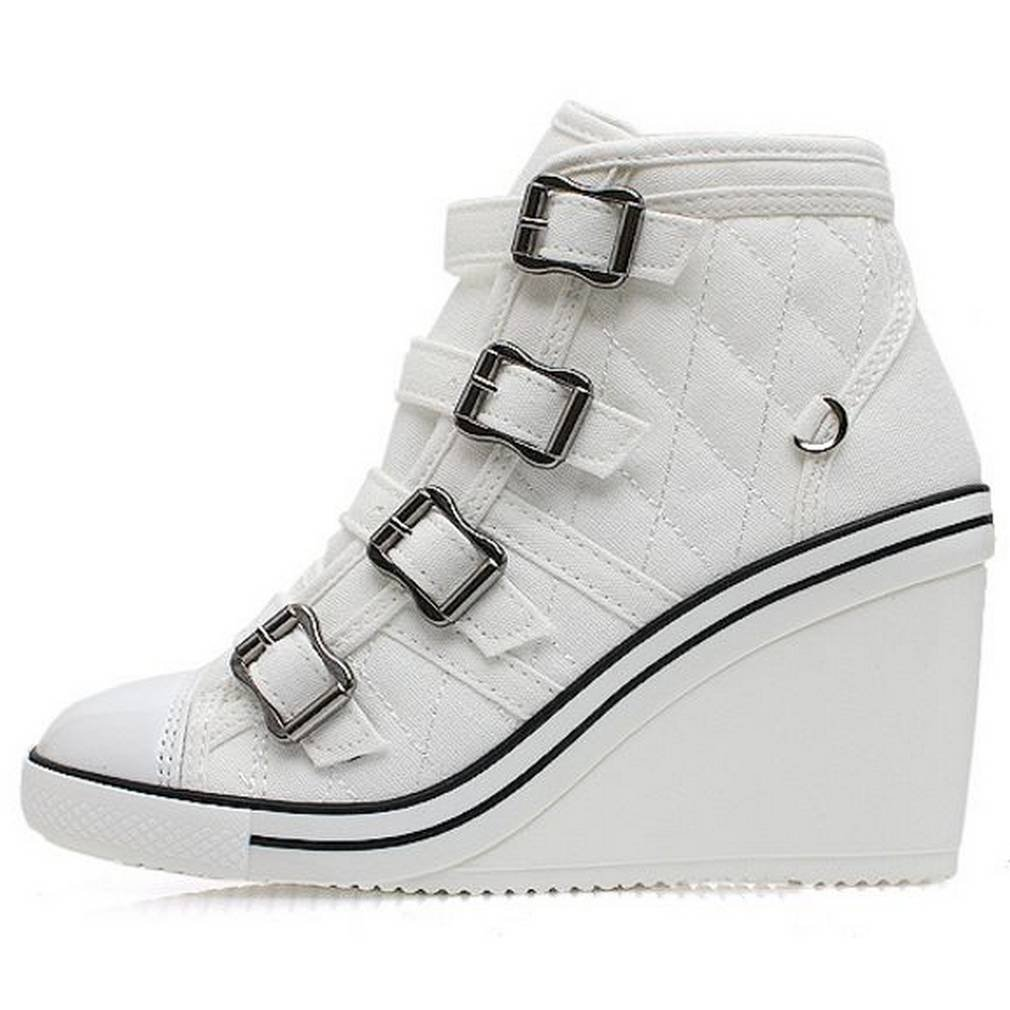 EpicStep Women's High Tops High Heel Wedges Shoes Casual Zip Velcro Fashion Sneakers B014D1AYJ8 7.5 B(M) US|White