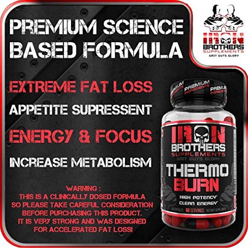 Thermogenic Fat Burners for Men/Women - Hardcore Weight Loss Pills - Appetite Suppressant- Premium Metabolism/Energy Booster – 60 Gel Capsules - Keto Friendly - Iron Brothers Thermo Burn by Iron Brothers Supplements (Image #2)