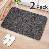 2Pack Indoor Doormat Absorbs Water 28''x18'' Latex Backing Non Slip Door Mat for Small Front Door Inside Floor Dirt Trapper Mat Cotton Entrance Rug Shoe Scraper Machine Washable Carpet Black White Fiber