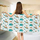 Chaneyhouse Underwater,Bath Towel,Flounder and Trout Naive Lino Style Algae Underwater Marine Ocean Sea Pattern,Bathroom Towels,Green Orange Size: W 31.5'' x L 63''