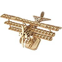 Rolife Build Your Own 3D Wooden Assembly Puzzle Wood Craft Kit Bi-Plane Model,Gifts for Kids and Adults