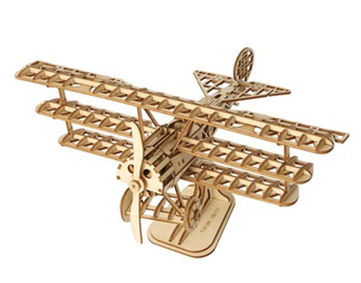 ROBOTIME Wood Craft Kits Unfinished Bi-Plane 3D Laser Cutting Wooden Puzzle Toy for Kids and Adults