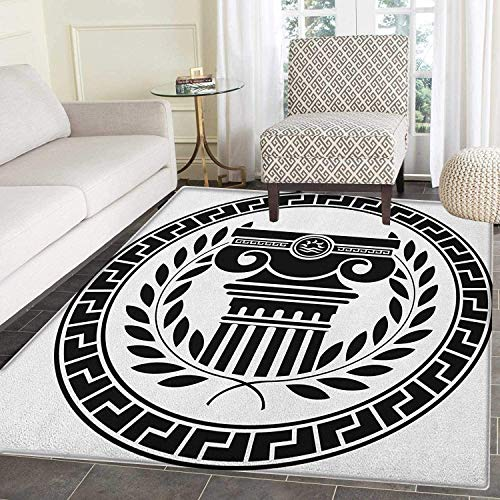Hellenic Area Rugs - Toga Party Anti-Skid Area Rug Hellenic Column and Laurel Wreath Heraldic Symbol with Olive Branch Graphic Door Mat Increase 3'x4' Black White