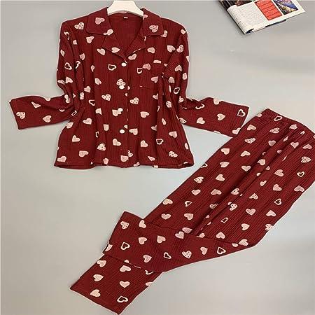 Otoño Pijamas de algodón para Mujer Twinset Hilo de algodón de Manga Larga Pijama Transpirable y cómodo 1 M: Amazon.es: Hogar