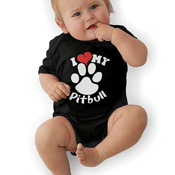 I Love My Pitbull Staffy Terrier Dog Baby Girls Short Sleeve Cotton T-Shirts