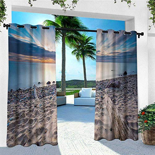 leinuoyi Driftwood, Outdoor Curtain Wall, Seascape Theme Rocky Sea Shore with Driftwood Trees Trunks Cloudy Sky Image, for Patio Furniture W84 x L96 Inch Blue and Beige (Garden Trunk Driftwood)