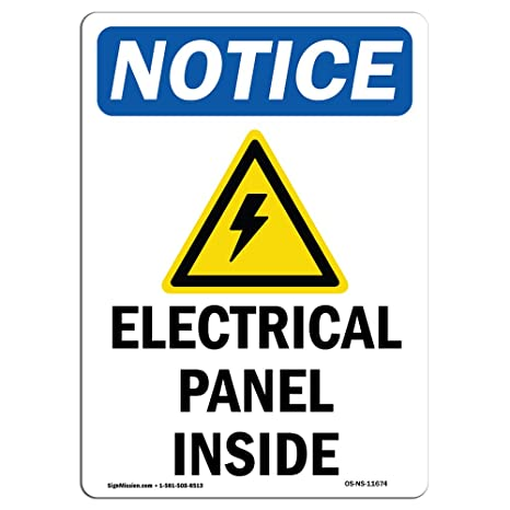 OSHA Notice Signs - Electrical Panels Inside Sign with Symbol | Choose from: Aluminum,