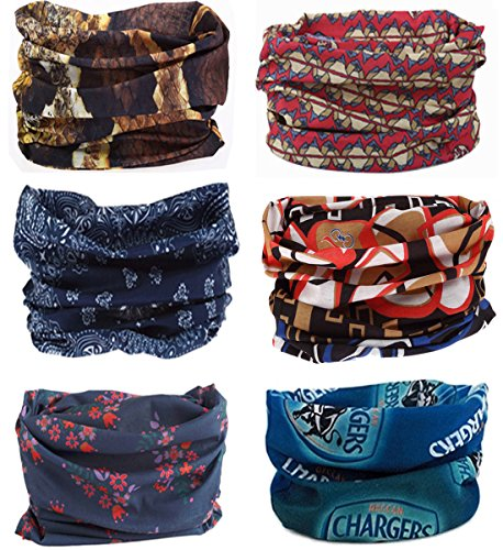 (SmilerSmile 6pcs Assorted Seamless Outdoor Sport Bandanna Headwrap Scarf Wrap, 12 in 1 High Elastic Magic Headband & Collars Muffler Scarf Face Mask with UV Resistance, (Mix&Match B))
