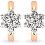 0.68 CT SGL Certified Diamond Flower Hoop Clip-on Earrings, Bridesmaid Wedding Anniversary Huggies Earring, Gold Tiny Mothers
