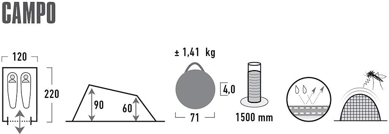 Adults 10270 Campo Pop Up Tent Black standard size High Peak Unisex/