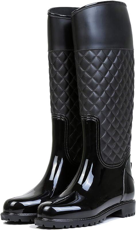 stivali di gomma donna pioggia impermeabile Aonegol alti wellington boot rain boot giardino stivali B07JKN5FVJ