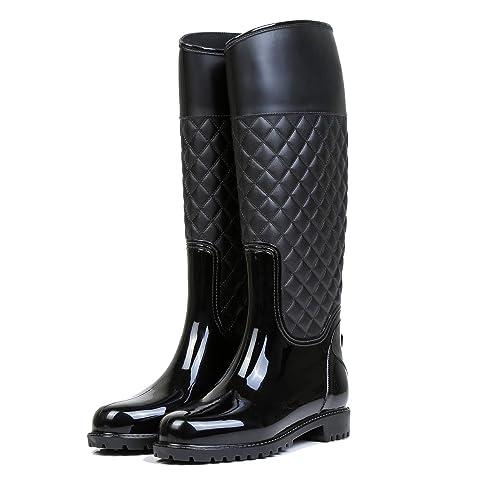 a345aa75d5941 LILY999 Stivali di Gomma Donna Pioggia Impermeabile Alti Wellington Boot  Rain Boot Giardino Stivali(Nero